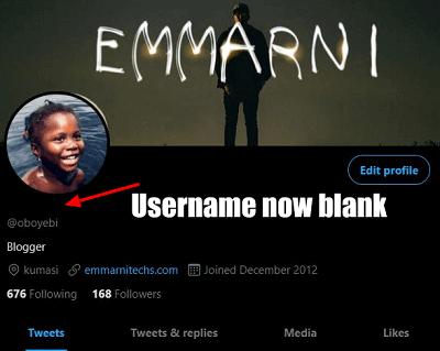 twitter username now blank