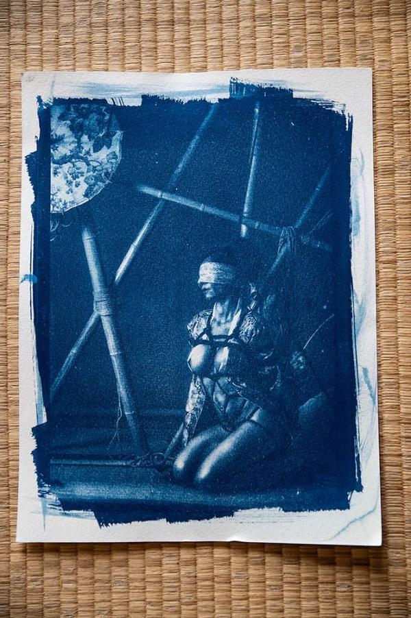 cyanotype Shibari : L'attente