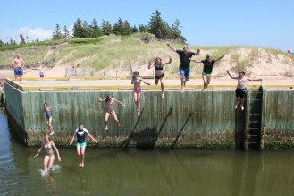 Jumping off the quayside at Basin head
