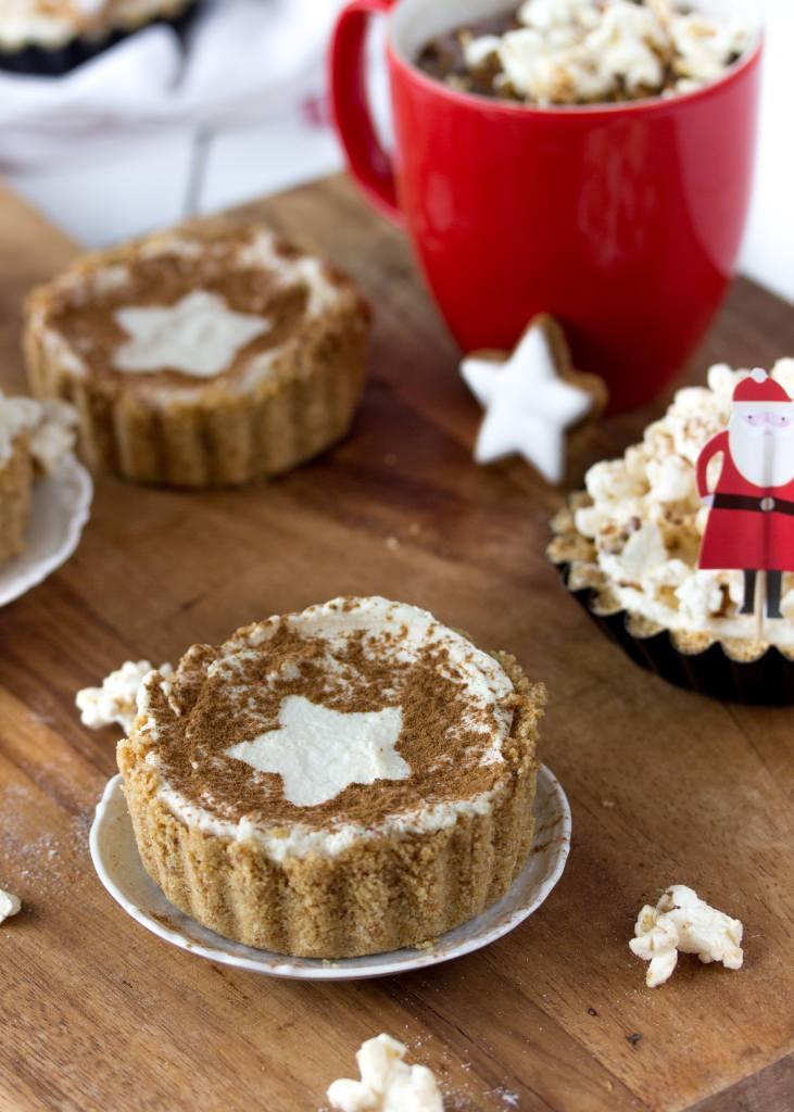 Zimstern-Cheesecake mit Zimtpopcorn