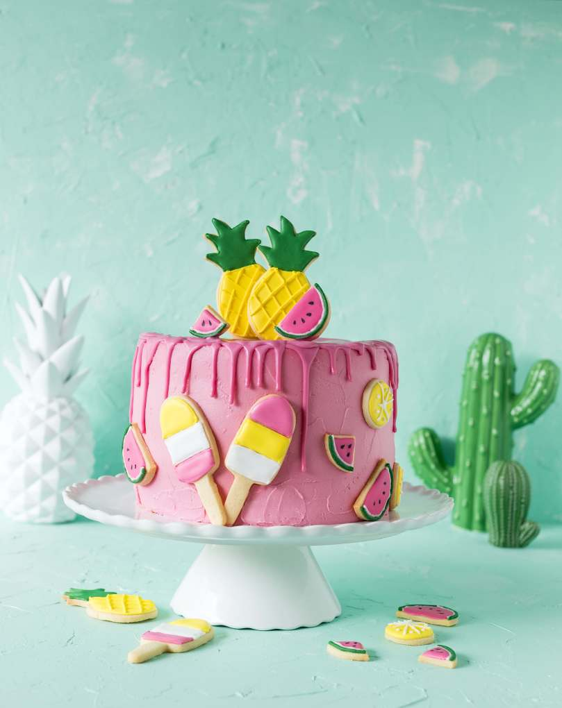 Tropcial Drip Cake Tropical Party Backbuch Sommer Ananas Wassermelone Ananas Kaktus