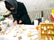 Beeswax soap, candle & honey stalls.