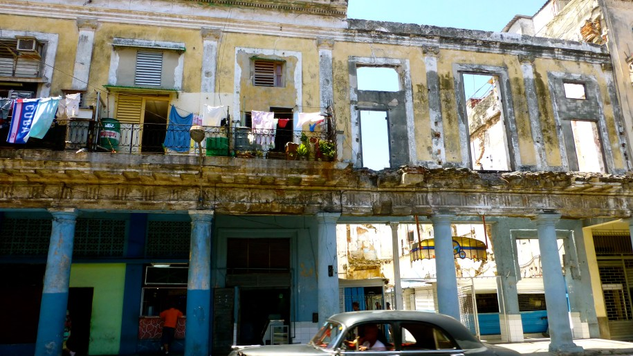 Havana's crumbling homes; still, almost bizarrely occupied - life goes on!