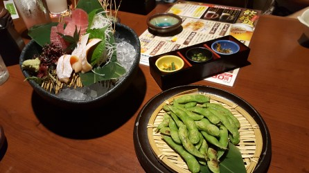 Sashimi and edamame