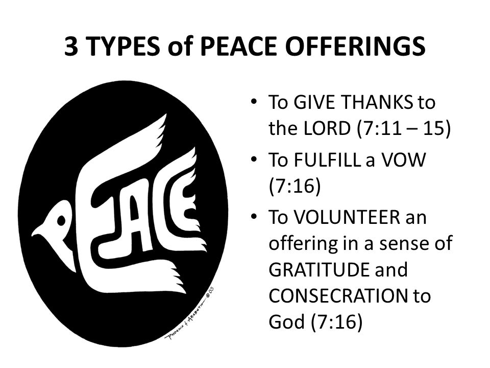 The Five Offerings Of Leviticus Part 7 of 10: The Peace