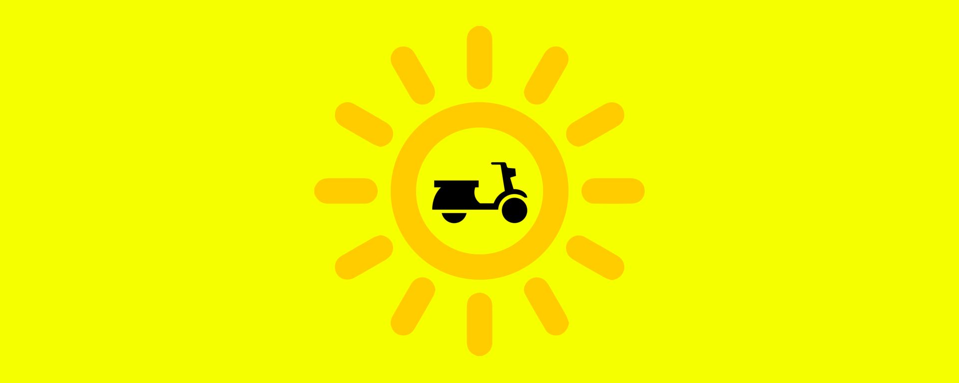 Scooter nel sole su sfondo giallo
