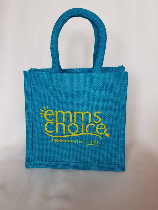 turquoise jute bag with logo