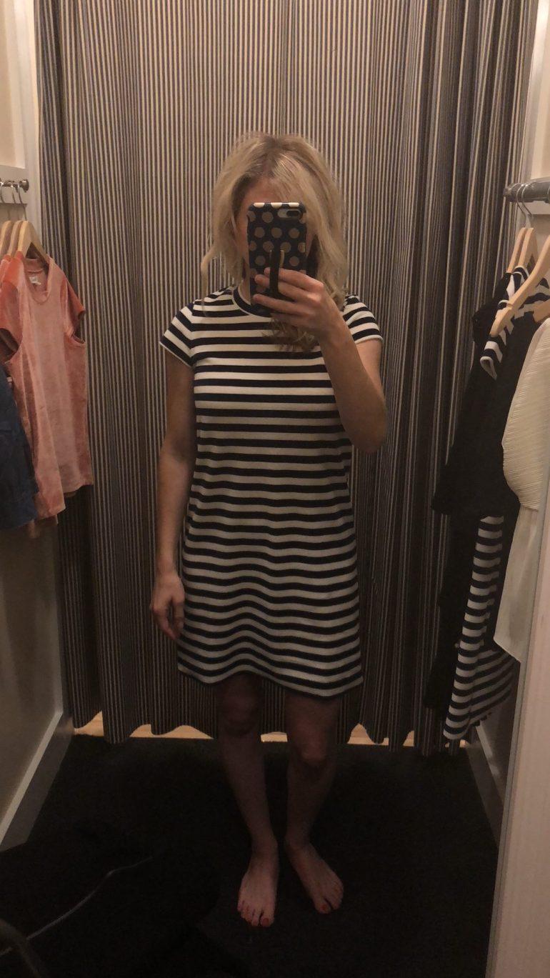 Madewell Striped velour tee dress