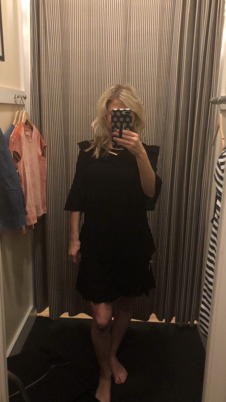 Madewell Black Eyelet waterlily ruffle dress