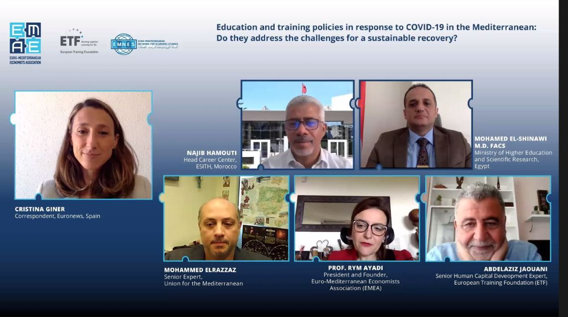 """EMEA Webinar """"Education and training policies in response to COVID-19 in the Mediterranean: Do they address the challenges for a sustainable recovery?"""" completed successfully"""