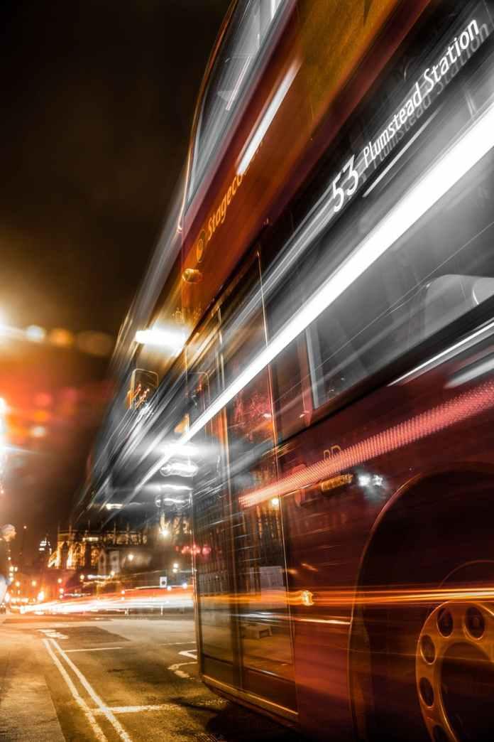 long exposure of double decker bus