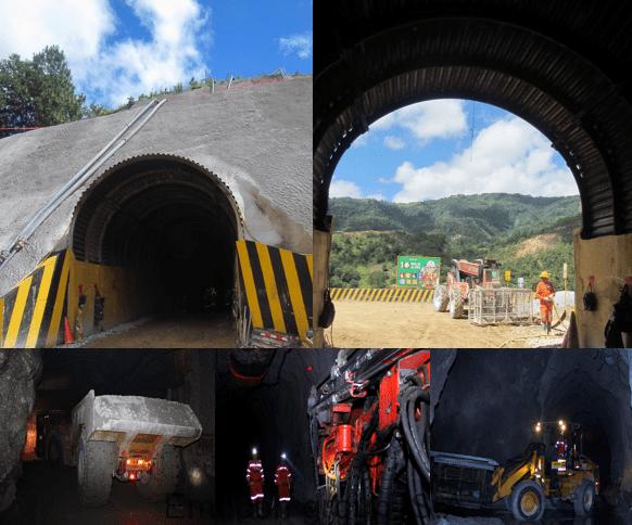Túnel en construcción, Maquinaria, Personal