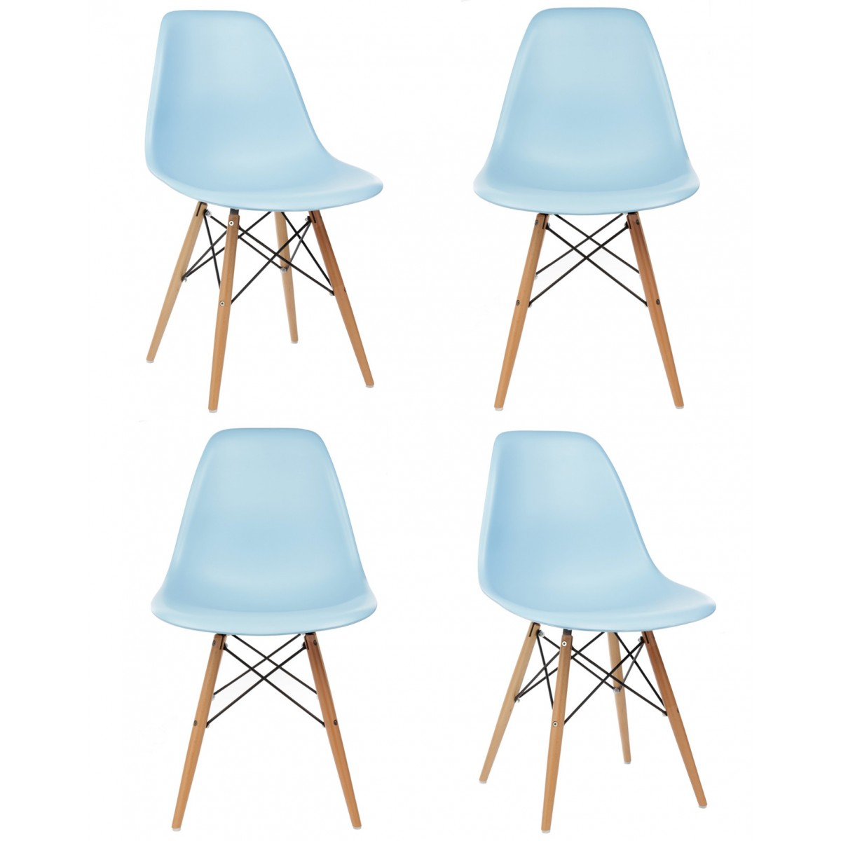 Light Blue Dining Chairs Set Of 4 Eames Style Dsw Molded Light Blue Plastic Dining