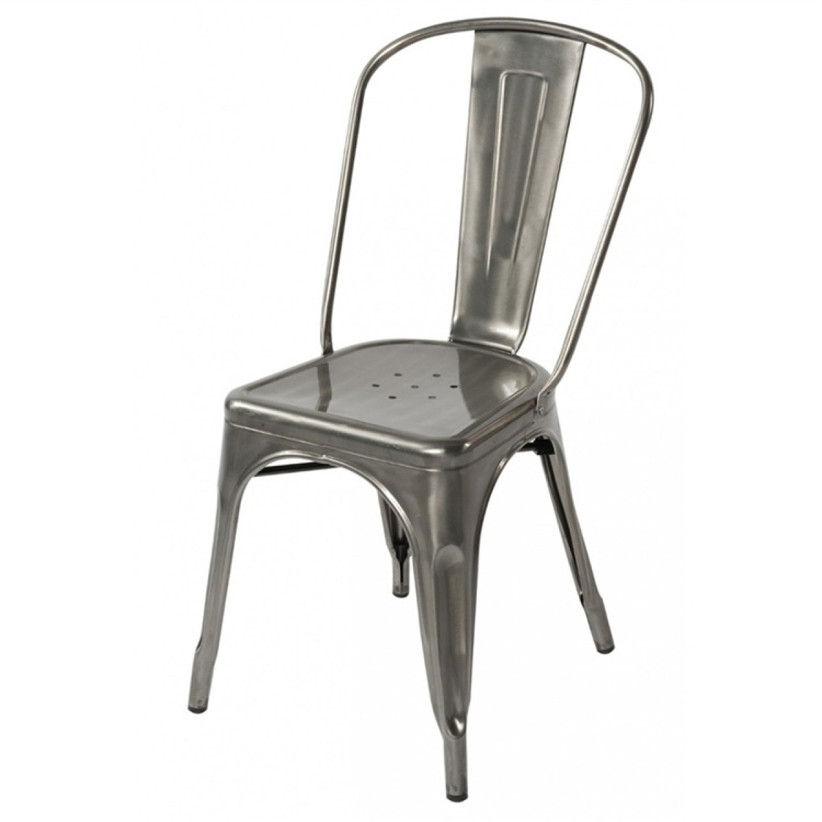 Metal Chairs Tolix Style Metal Industrial Loft Designer Gun Metal Cafe