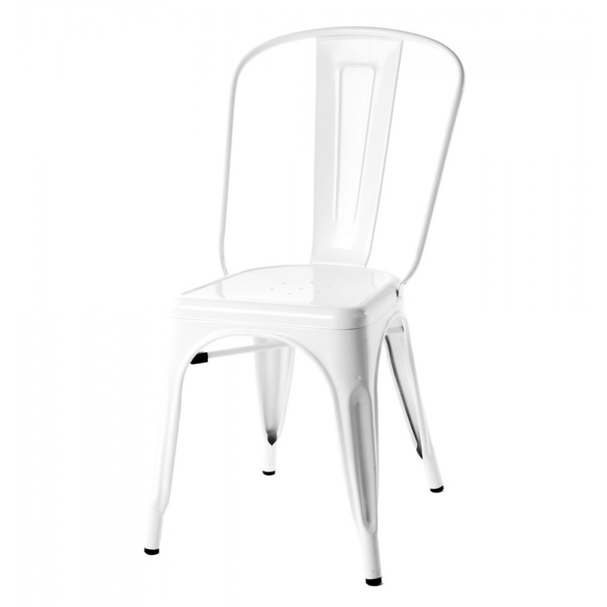 White Metal Chair Tolix Style Metal Industrial Loft Designer White Cafe Chair