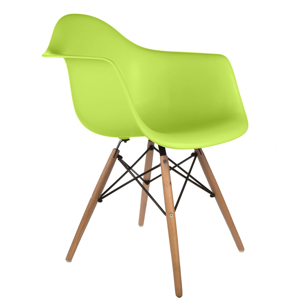 Lime Green Chairs Daw Molded Lime Green Plastic Dining Armchair With Wood Eiffel Legs