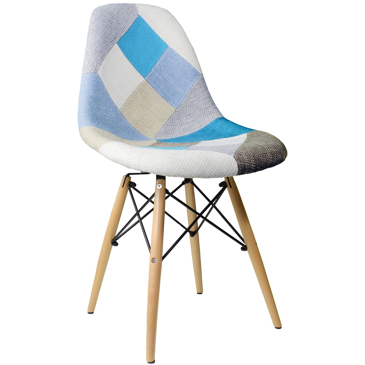 Mid Century Side Chair Patchwork Fabric Upholstered Mid Century Eames Style