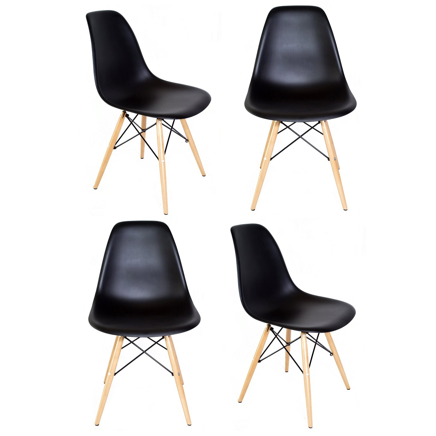 Dsw Chair Set Of 4 Eames Style Dsw Molded Black Plastic Dining Shell