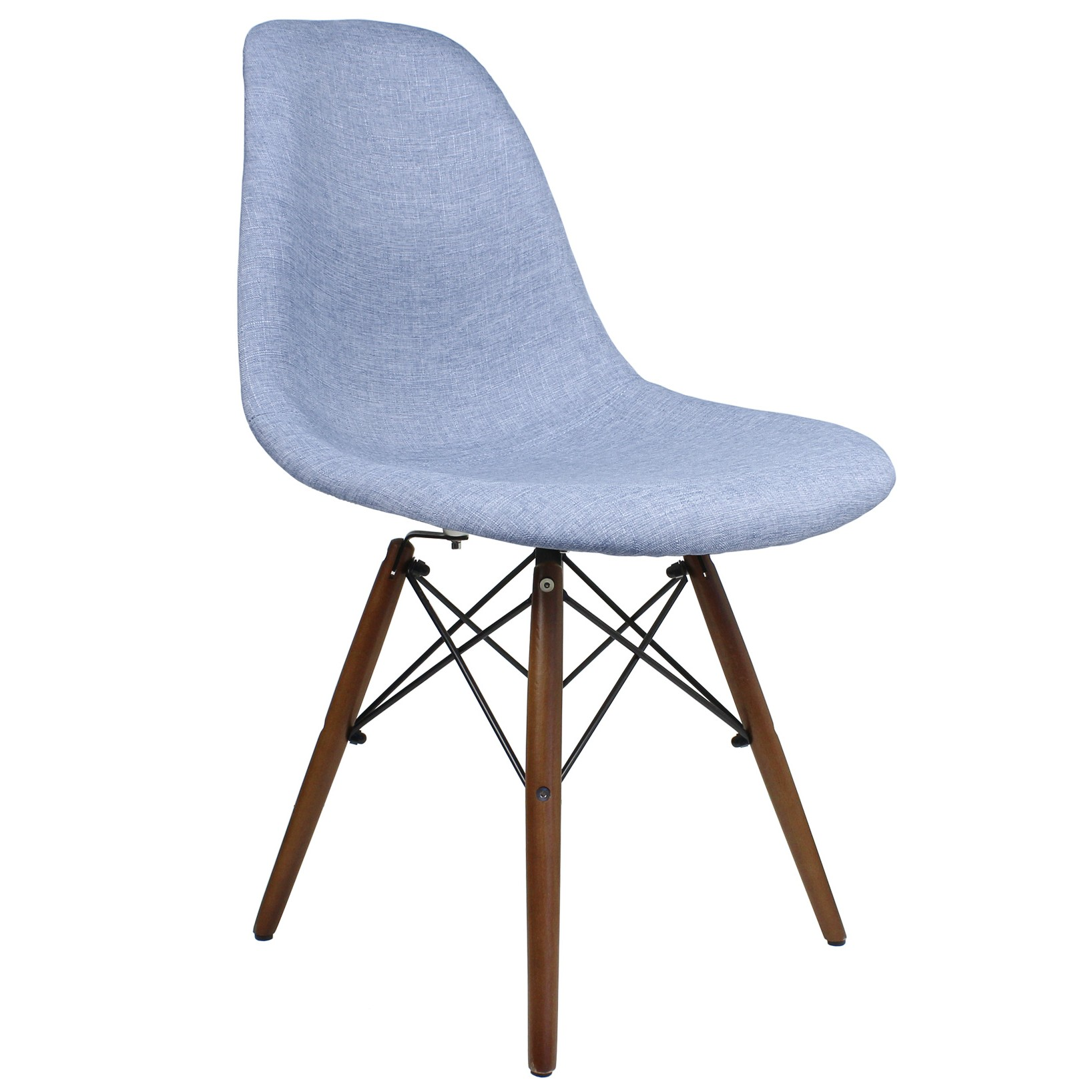 Denim Chair Blue Denim Fabric Upholstered Modern Accent Side Dining Chair