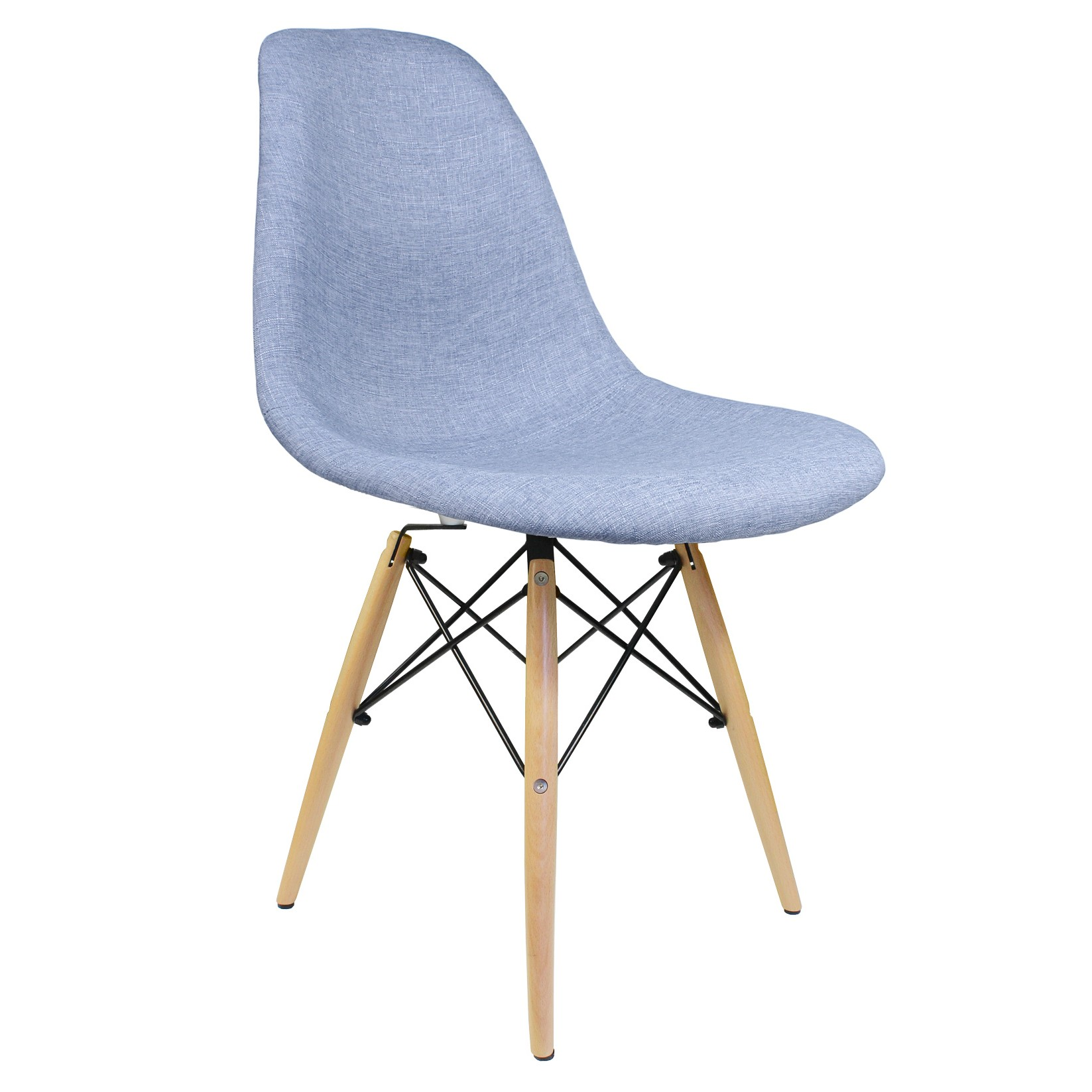 Denim Chairs Blue Denim Fabric Upholstered Modern Accent Side Dining Chair
