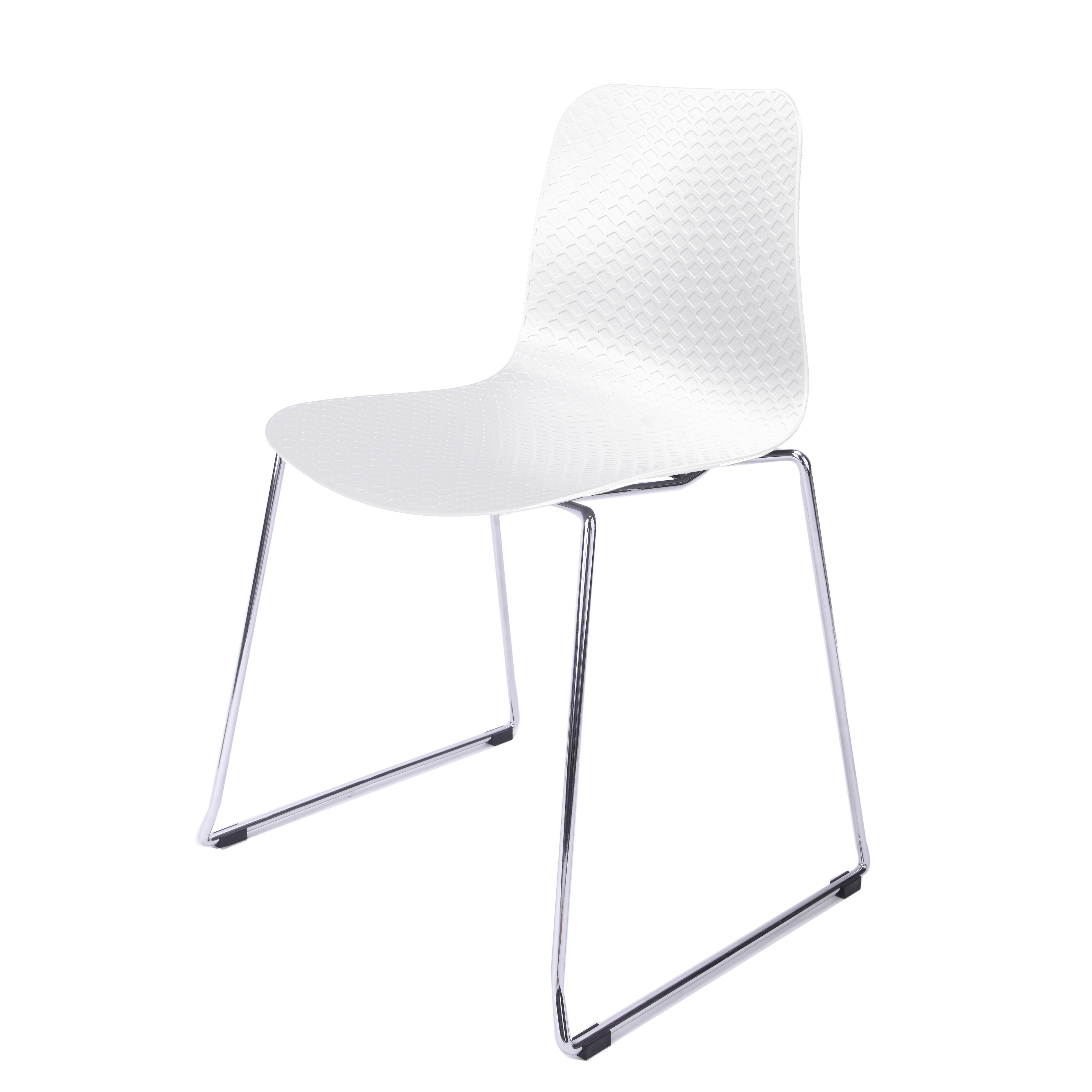 Metal Chairs Hebe Series White Dining Shell Side Chair Molded Plastic Steel Metal Legs