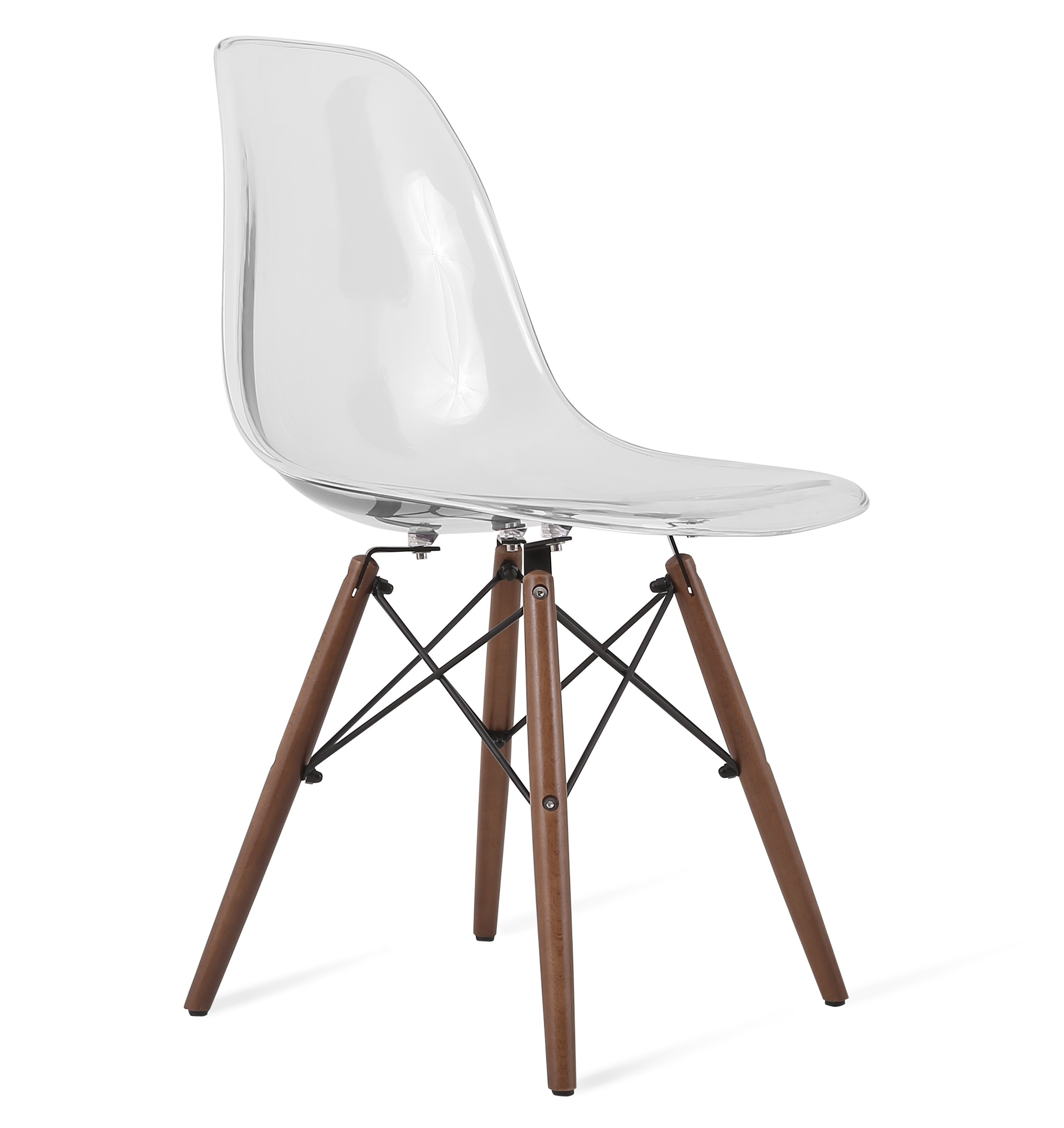 Plastic Clear Chair Dsw Clear Acrylic Plastic Dining Shell Chair With Dark Walnut Eiffel Legs