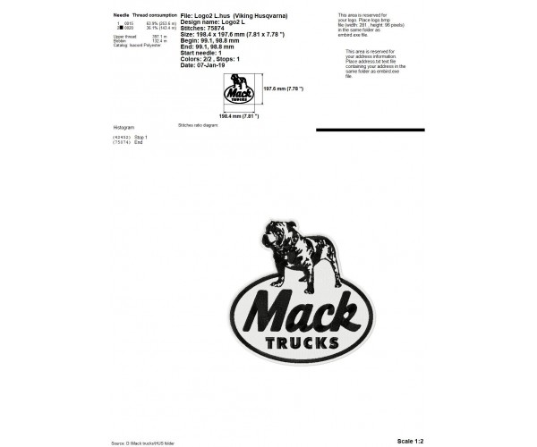 Mack Truck logos machine embroidery design for instant