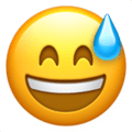 Grinning Face With Sweat on Apple iOS 11.2 Coussin emoji, signification smiley, signification emoji