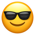 Smiling Face With Sunglasses on Apple iOS 11.2 Coussin emoji, signification smiley, signification emoji