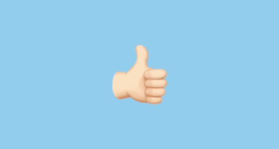 thumbs up sign with