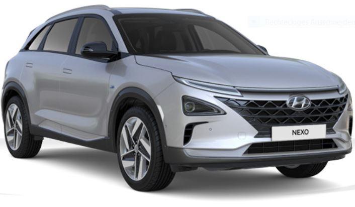 Hyundai - Nexo - Brennstoffzellen Auto, Wasserstoff, H2, Elektroauto, leicht schräg von vorne rechts, cocoon silver metallic - Foto Hyundai