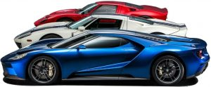 Ford GT - Beitragsbild 300 x 124px - Foto Ford - 3 GTs hintereinander - ausgeschnitten