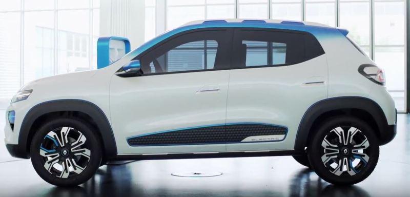 Renault, Dacia - K-ZE - erstes Elektroauto für weniger als 10000 Euro, linke Seite, Dach in blau, Auto sonst in weiß metallic