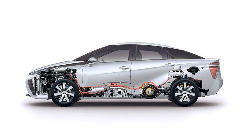 Toyota Mirai - Schema, Grafik, gesamtes Auto von der Seite im Schnitt - Brennstoffzelle, Wasserstoff -Foto Toyota