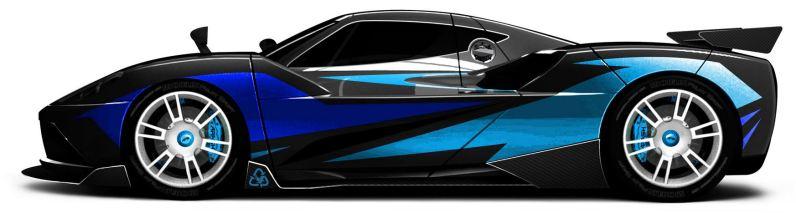 Arash AF10-Hyybrid - Elektroauto - Seite - blau metallic - langes Bild