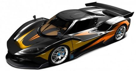 Arash AF10-Hyybrid - Elektroauto - von vorne oben links - changierende Farben - langes Bild