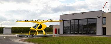 Volocopter - Elektro-Flug, ADAC Machbarkeitsstudie zum Rettungsflug mit Multikopter - Autonom Flug - Bild ADAC Fotomontage - 378x150px