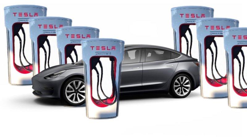Tesla Model 3 - vor 7 x Doppel Ladesäule - Collage von emoove.net