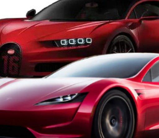 Tesla Roadster vs. Bugatti Chiron