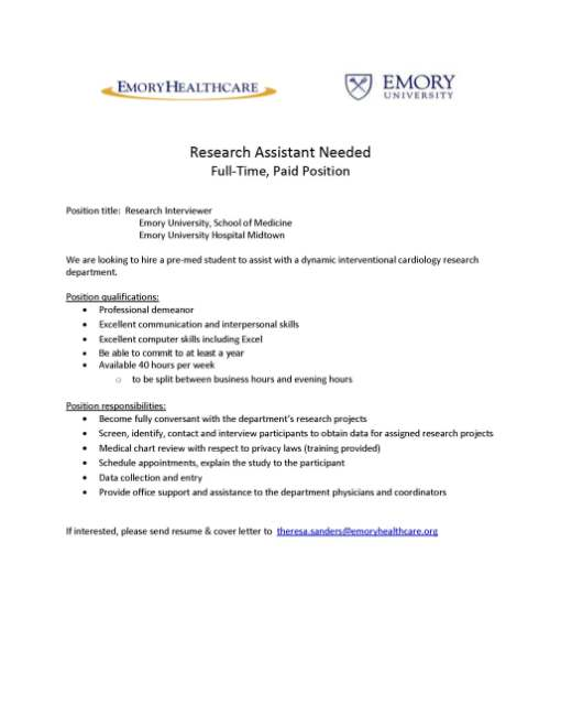 Research Assistant Needed Full Time Paid Position At