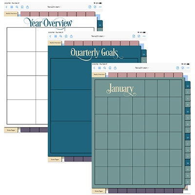 Year overview, quarterly goals, monthly calendar
