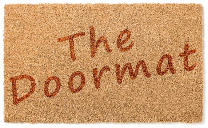 Doormat picture with words The Doormat on it to represent the passive doormat