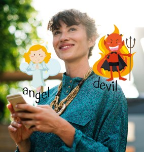 Girl using mobile phone for texting or SM with and angel on one shoulder and a devil on the other meant to illustrate the importance of EI or emotional intelligence
