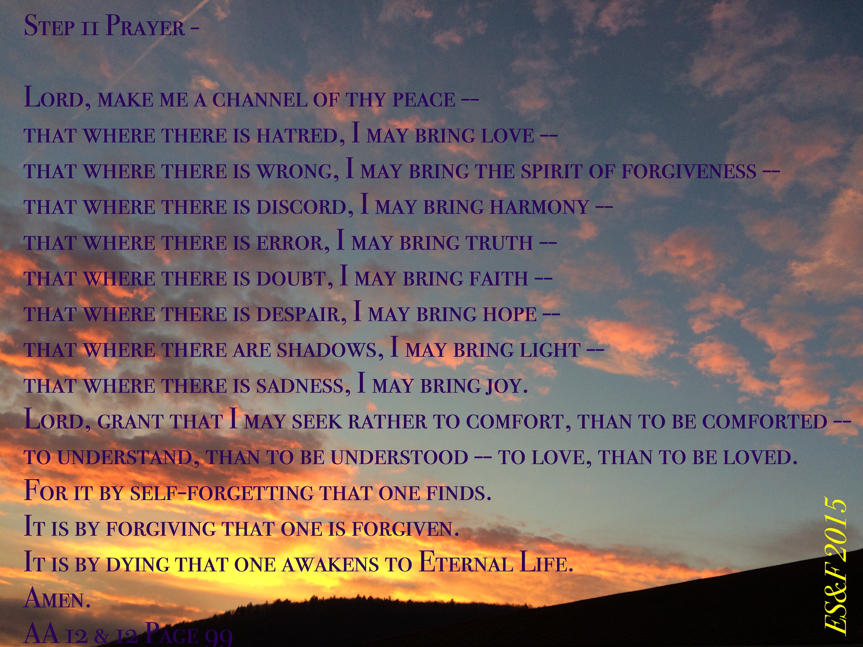 St Francis Prayer Emotional Sobriety And Food