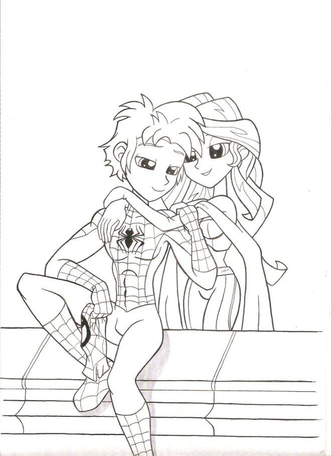 spider_man_and_sunset_shimmer__a_friend_in_you_by_jmkplover-d9urcff
