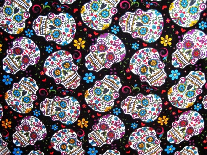 tela calaveras mexicanas fondo negro