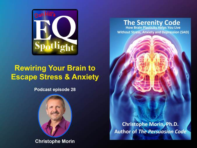 "photo of author Christophe Morin and his book cover ""The Serenity Code"". The title to EQ Spotlight podcast ""Rewiring Your Brain to Escape Stress & Anxiety"""