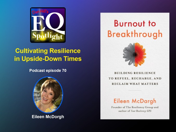 """An image of Author Eileen McDorgh and and image of her new book """"Burnout to Breakthrough: Building Resilience to Refuel, Recharge, and Reclaim What Matters"""" for Dan Hill's EQ Spotlight podcast episode 70 titled """"Cultivating Resilience in Upside-Down Times"""""""