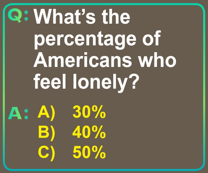 """Image of the question """"What's the percentage of Americans who feel lonely?"""" the options for the answers are A) 30%, B) 40% and C) 50%."""