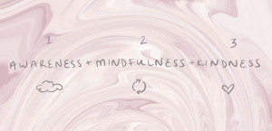 The elements of self empathy. 1: Awareness. 2: Mindfulness. 3: Kindness. Handwritten text in gray over pink and white swirling background.